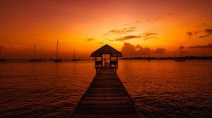 Превью обои пристань, конструкция, море, лодки, закат, темный