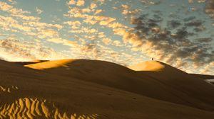 Превью обои пустыня, дюны, песок, силуэт, одиночество