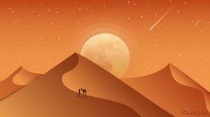 Превью обои пустыня, дюны, верблюд, ночь, арт, вектор
