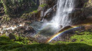 Превью обои радуга, водопад, струи, поток, сверху, камни, тень, влажность, цвета