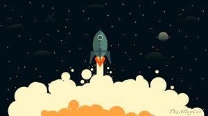 Превью обои ракета, дым, космос, арт, вектор
