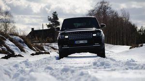 Превью обои range rover, автомобиль, внедорожник, черный, снег, зима