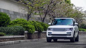 Превью обои range rover, белый, внедорожник, авто
