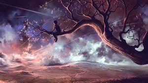 Превью обои ребенок, дерево, одиночество, обзор, арт