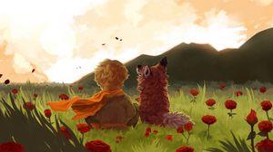 Превью обои ребенок, лиса, арт, поле, цветы, горы, пейзаж