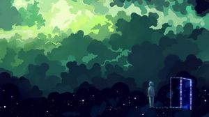 Превью обои ребенок, ночь, мечты, фантазия, арт