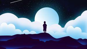 Превью обои ребенок, силуэт, космос, облака, луна, вектор