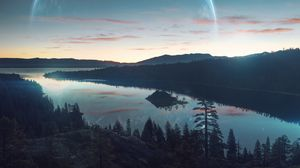 Превью обои река, лес, горы, небо, закат, отражение, фантастический