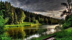 Превью обои река, лето, скамейка, деревья