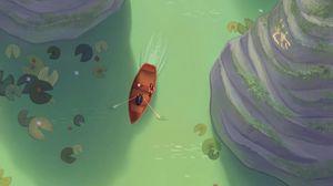Превью обои река, лодка, арт, скалы, кувшинки