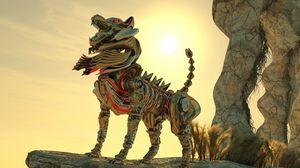 Превью обои робот, волк, возвышенность, металл, серебро