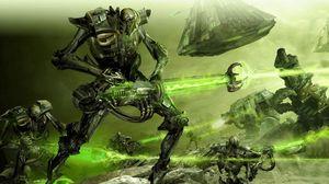 Превью обои роботы, существа, оружие, лазер, сражение