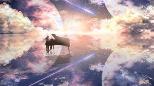 Превью обои рояль, силуэт, космос, иллюзия, аниме
