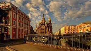 Превью обои россия, санкт петербург, собор, мост, здания, улица