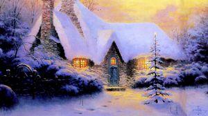 Превью обои рождество, новый год, дом, елка, снег, зима, свет, каменный