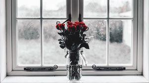 Превью обои розы, букет, ваза, окно