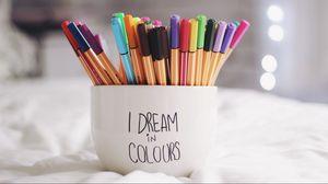 Превью обои ручки, чашка, мечты, разноцветный