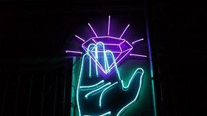 Превью обои рука, неон, алмаз, подсветка