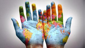 Превью обои руки, ладони, карта, краска