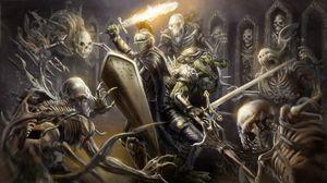 Превью обои рыцарь, доспехи, шлем, оружие, меч, огонь, щит, крокодил, скелеты, арт