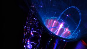 Превью обои саксофон, светопись, абстракция, музыкальный инструмент