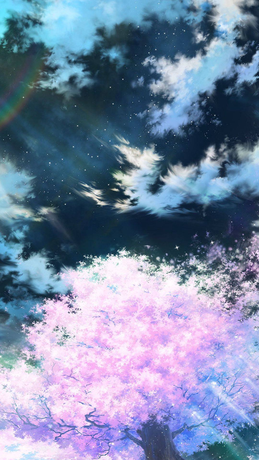 1080x1920 Обои сакура, арт, небо, аниме, розовый