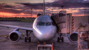 Превью обои самолет, авиация, небо, закат
