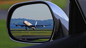 Превью обои самолет, авто, зеркало, отражение