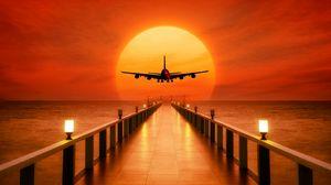 Превью обои самолет, фотошоп, закат, причал