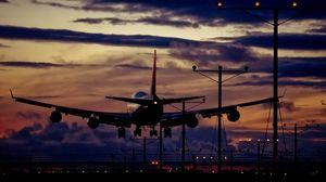 Превью обои самолет, небо, движение, ночь