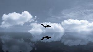 Превью обои самолет, небо, отражение, облака, полет, зеркальный