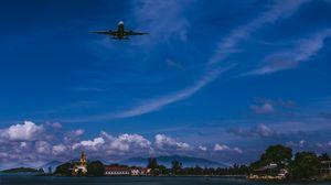 Превью обои самолет, небо, полет, облака