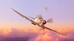 Превью обои самолет, пропеллер, арт, полет, небо, высота