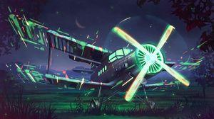 Превью обои самолет, пропеллер, арт, свечение, ночь