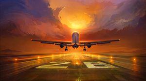 Превью обои самолет, взлетная полоса, арт, закат, небо