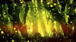 Превью обои самурай, джунгли, свет, блики, яркий, зеленый