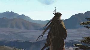 Превью обои самурай, воин, катаны, арт