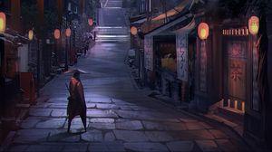 Превью обои самурай, воин, здания, архитектура, улица, япония, арт
