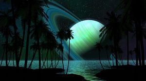 Превью обои сатурн, пальмы, вода, темнота, фантастика