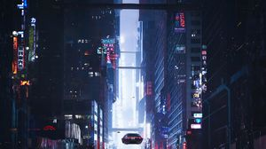 Превью обои sci-fi, город, будущее, арт, здания, автомобили