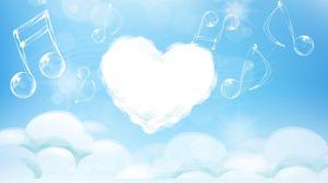 Превью обои сердце, мелодия, ноты, светлый