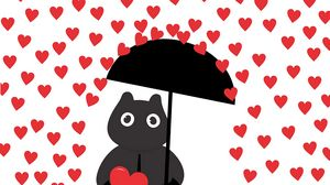 Превью обои сердечки, дождь, арт, силуэт, зонтик