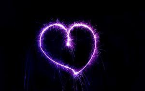Превью обои сердце, искры, форма, блеск