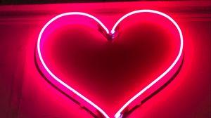 Превью обои сердце, неон, вывеска, свет, красный