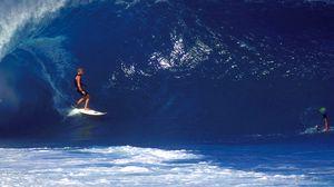 Превью обои серфинг, парень, доска, волна