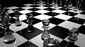 Превью обои шахматы, доска, стекло, чб, поверхность