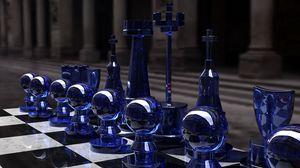 Превью обои шахматы, синий, стекло, доска, форма