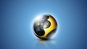 Превью обои шар, черный, желтый, синий