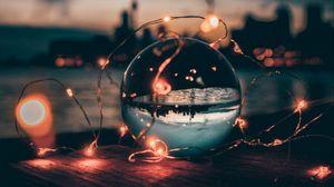 Превью обои шар, гирлянды, стеклянный, прозрачный, закат