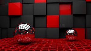 Превью обои шар, пара, куб, кубики, стекло, металл, пластмасса